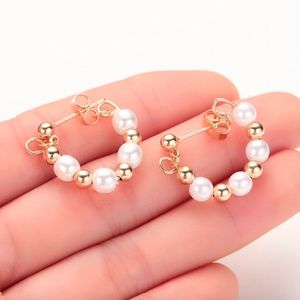 Dainty Gold Ball Pearl Hoop Earrings